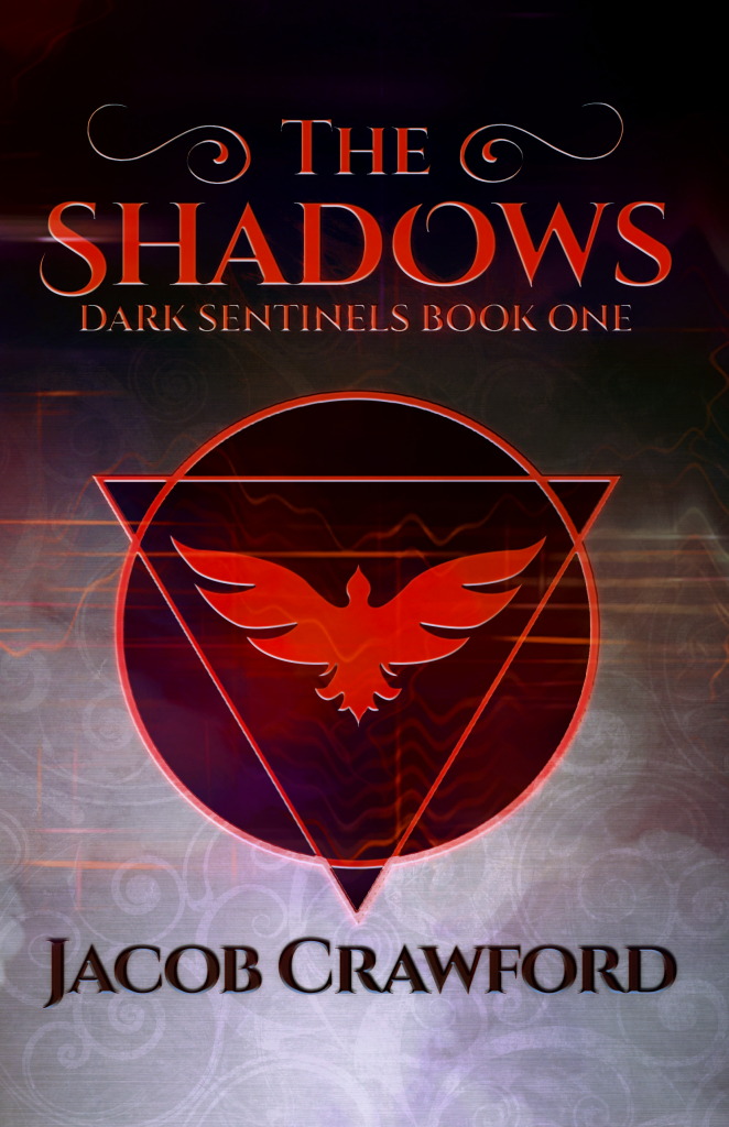 The cover of THE SHADOWS by Jacob Crawford; a misty background that fades top-to-bottom from black to grey, with the title THE SHADOWS in large red letters across the top. In the center, a red circle and triangle intersect, surrounding a stylized red bird in flight. Author's name--Jacob Crawford--along the bottom of the cover.