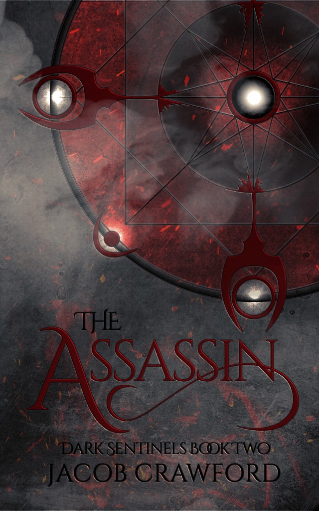 A grey concrete-like background with an off-center summoning circle at the top right. The circle is glowing white and red. Along the bottom, the title THE ASSASSIN is written in red, with the author name Jacob Crawford in black beneath it.